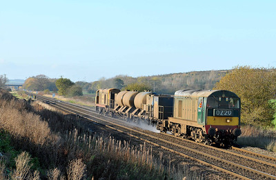 Class 20 No 20189 + 20227 at Hambleton West Junction on 12 November 2011 with the 3S14 11:28  Sheffield - York Works (running 3 min early)
