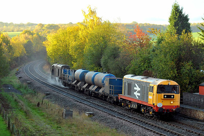 Class 20 No 20227 + 20189 at Crigglestone on 1 November 2011 with the 3S12 06:58 Sheffield - Sheffiled (running 3 min late)