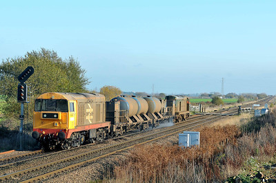 Class 20 No 20227 + 20189 at Hambleton West Junction on 12 November 2011 with the 3S14 11:28  Sheffield - York Works (running 3 min early)