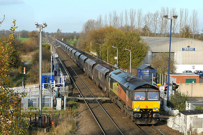 Class 66 No 66849 at Sherburn-in-Elmet on 12 November 2011 with the 6D86 10:30 Walsingham - Scunthorpe CHP (running on time)