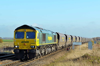 Class 66 No 66953 at Hambleton West Junction on 12 November 2011 with the 6Y13 09:44 Immingham Dock HIT - Ferrybridge Power Station (running 4 min early)