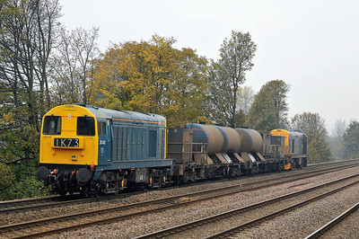 Class 20 No 20142 + 20096 at Thornes on 14 November 2011 with the 3S14 11:13 Grimsby - Malton (via Sheffield)(running on time)