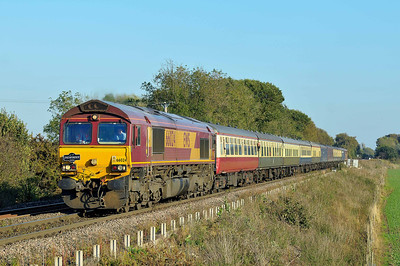 Class 66 No 66025 at Heck Ings Crossing on 15 October 2011 with the 1Z29 05:45 Bristol Temple Meads - Monk Bretton (running 7 min late)