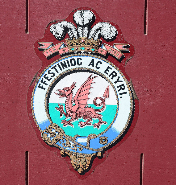 The coat of arms - in Welsh - of the Ffestiniog & Welsh Highland Railways.