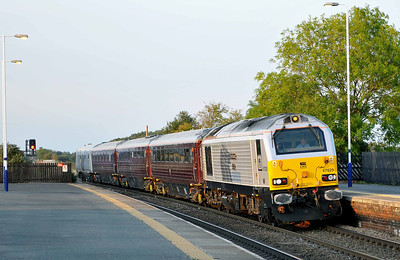 Class 67 No 67029 at Church Fenton on 15 September 2011 with the 5Z05 18:12 York - Toton TMD  (running 11 min early)