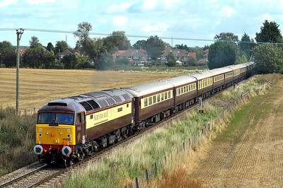 Class 47 No 47832 at Poppleton on 17 September 2011 with the 1Z12 07:05 Norwich - Harrogate Northern Bell (running on time)