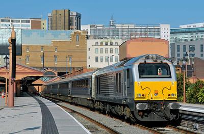 Class 67 No 67012 at Birmingham Moor Street on 29 September 2011 with the 5E67 10:23 Birmingham Moor Street - Wembley MD