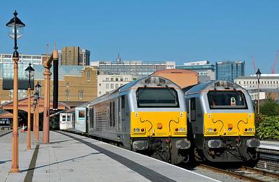 Class 67 No 67015 at Birmingham Moor Street on 29 September 2011 with the 1H32 10:55 Birmingham Moor Street - Marylebone