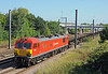A vision in red, 92009 Marco Polo on the 4E32 steel empties from Ebange in Eastern France to Scunthorpe.