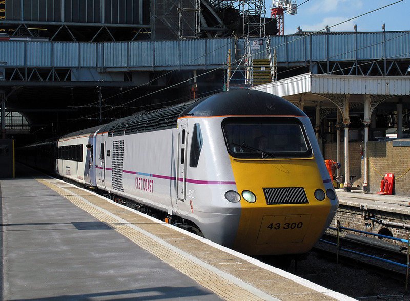 My speeder for the morning trip from Leeds-Lincoln-London....43300 in her new livery is now seen departing London with the 10:03 Kings cross-Leeds service in the capable hands of Driver Chris Mallinson.28/07/2011.