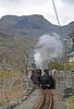Motive power was single Fairlie Taliesin and double Fairlie Merddin Emrys, here starting from a brief stop at Tanygrisiau.