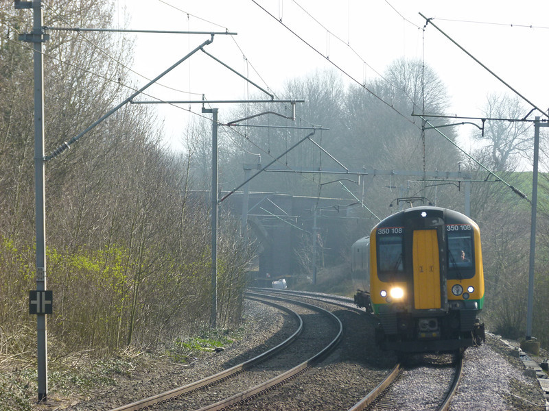 350108 arrives into Long Buckby with a Birmingham New Street service.