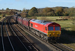 66152 is seen at New Barnetby in charge of 4D36 Eggborough-Immingham coal.02/11/2012.Fuji s3 pro.