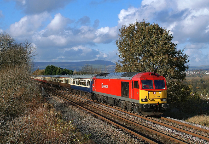DB Schenker 60011 Power's through Cliviger with 1Z92 'Pennine Panorama 2' Euston-Sheffield rail tour in lovely autumnal light.10/11/2012.Fuji s3 pro.