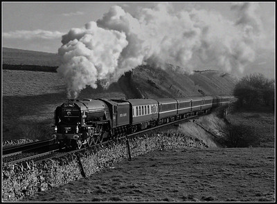 2017 02 14 60163 on the 1ST day of steam hauled regular service trains heads north on the 2Z53 Skipton-Appleby.Many thanks go to my good friend Chris Addis , who thought this location out due to the weather (wind) and coaching stock ,resulted in the end a half decent effort been achieved.