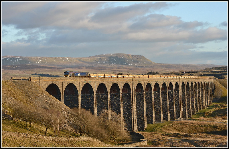 2018 02 20.66305 on the 6C89 Mountsorrel-Carlisle northbound infrastructure  train at Ribblehead.