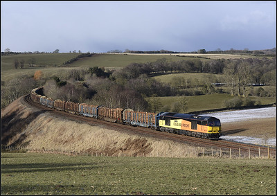 2018 02 27 60087 on the late running 6J37 Carlisle-Chirk Kronospan service at Armathwaite.