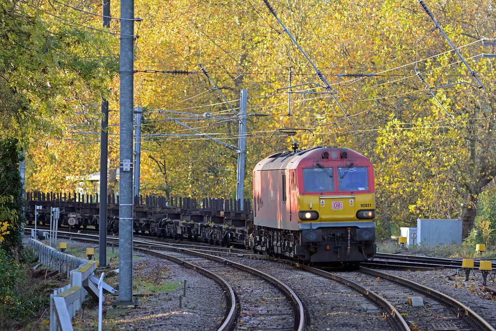 ...and then 92031 on the 4E32 empty steel from Dollands Moor to Doncaster. Still plenty of autumnal colour despite the recent cold and wind.