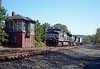 Thanks to some very slow traffic the MoW train beat us through Huntington, the next town west. Right behind it came a fast intermodal train headed by 9752, another GE C40-9W. Huntington is the site of a classic Pennsylvania Railroad tower (signal box) which today is home to the local Chamber of Commerce.