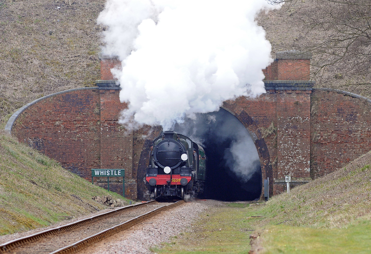 U class 2-6-0 1638 emerges from Sharpthorne Tunnel on the 12:30 ex-Sheffield Park