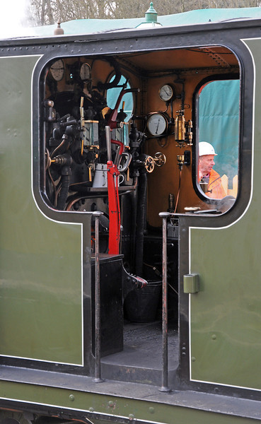 In Brighton days 473 was named Birch Grove and was painted in the Brighton's dignified burnt umber livery (brown) but at the moment she wears Southern Railway olive green from the mid 1920s. This is 473's workstation :-)