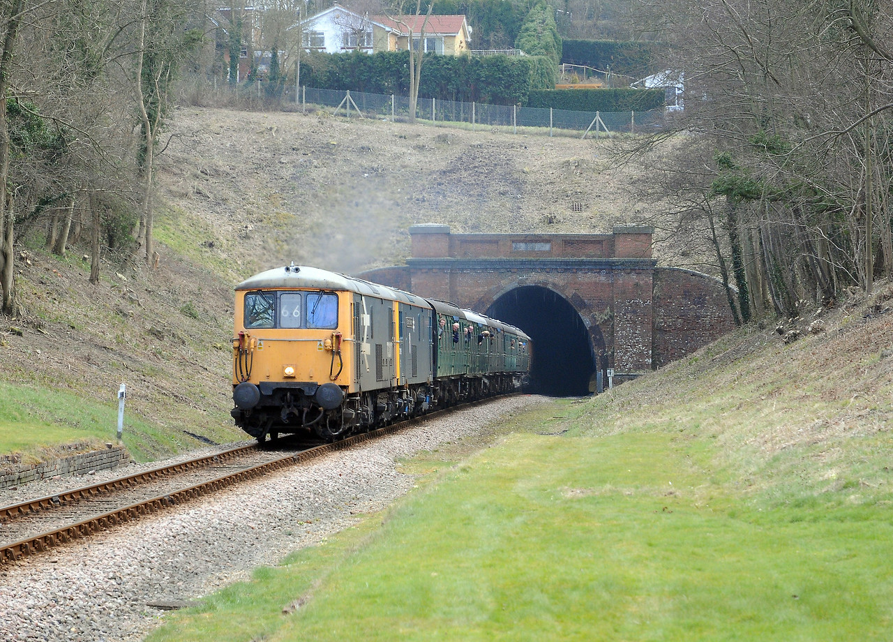 The two 73s were on a set of the Bluebell's vacuum braked steam heated stock. The latter was provided by radial tank B473.