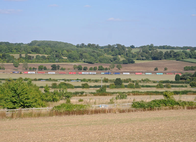 Taken from the west slope of the Bulbourne Valley, 66705 on an extra Hams Hall intermodal, the 4M26.