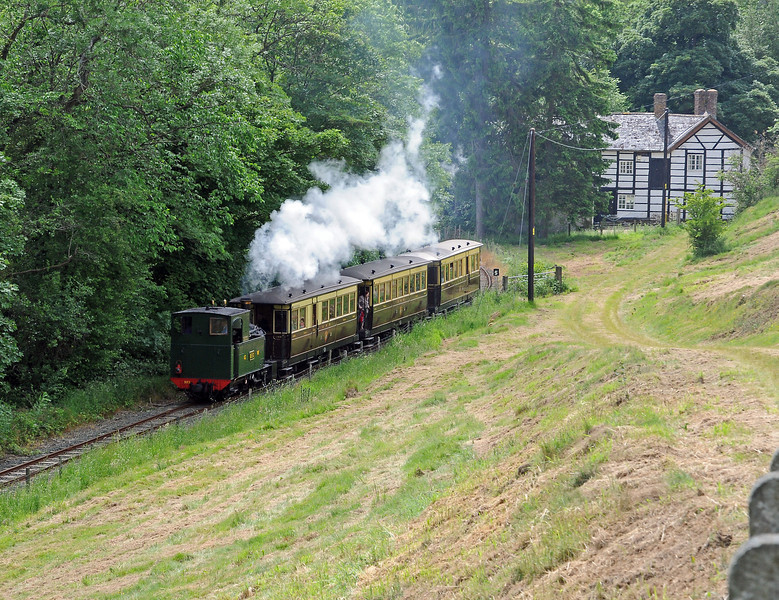 The afternoon vintage train running along the River Banwy between Llanfair and Heniarth.