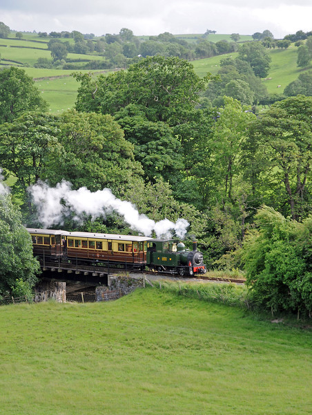 The vintage train returning to Llanfair, crossing the Banwy.