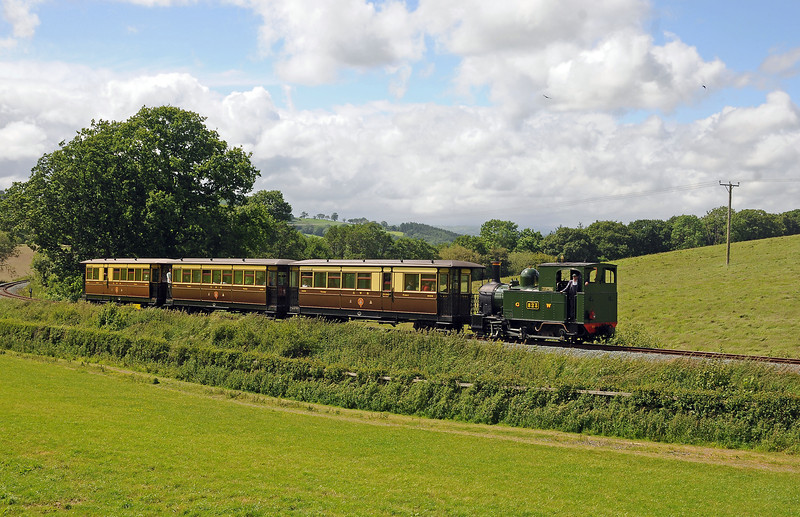 Countess and the vintage train east of Castle Caereinion.