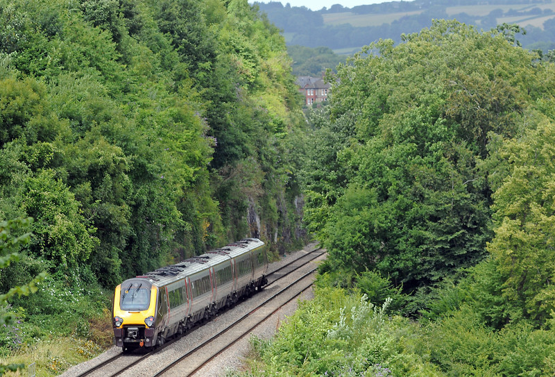 Another 221 Voyager heading north along the Wye as 1S49 Plymouith to Edinburgh...