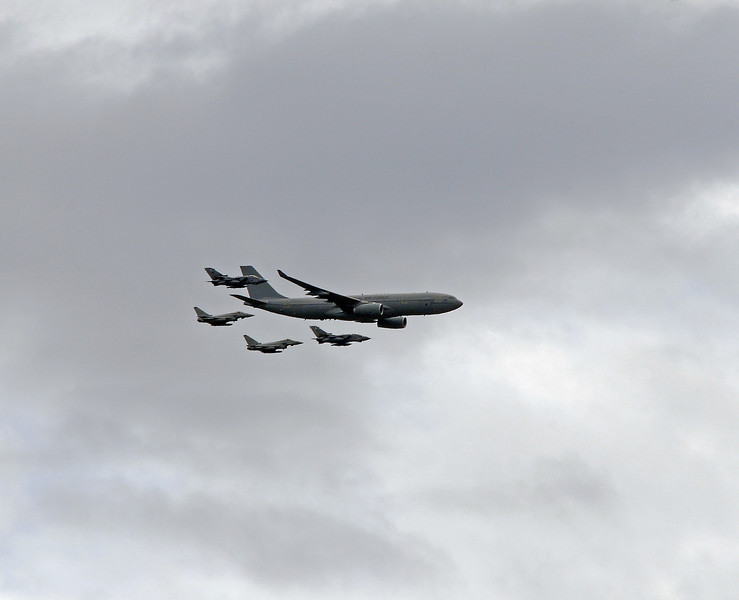 And they were followed by an Airbus A330 MRTT with a pair of Typhoons and a pair of Tornado fighter/bombers.