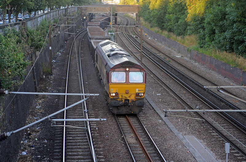 An STP working on Thursday evening was some empty box wagons from Ripple Lane to Tunstead, routed via Canonbury West, Finsbury Park and the ECML, here approaching Newington Green Road