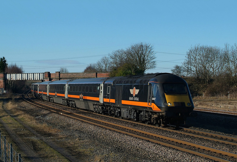 GC 43467 Passes the cattle dock heading north with 1N90 Kings cross-Hartlepool.02/02/2013.Fuji s3 pro.