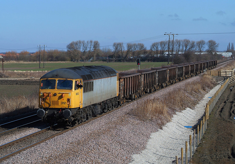 56312 with Driver 'Baron boff von Flockenstuffen' at the helm as they pass through Sherburn with 6Z56 York holgate - Chaddesden empty coal.06/04/2013.Fuji s3 pro.