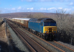 Newly acquired 57313 coasts south from Ribblehead in charge of 1Z69 Carlisle-Hereford WCR Rail tour.06/04/2013.Fuji s3 pro.