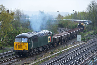 Class 56 No 56303 at Eastleigh on 7 April 2014 with the 6Y75 10:48 Eastleigh TMD - Totton Yard