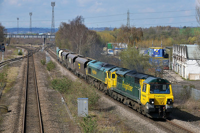 Class 70 & 66 No 70014 & 66554 at Horbury Bridge on 1 April 2014 with the 6D53 10:22 Crewe Basford Hall S.S.M. – Hunslet Yard