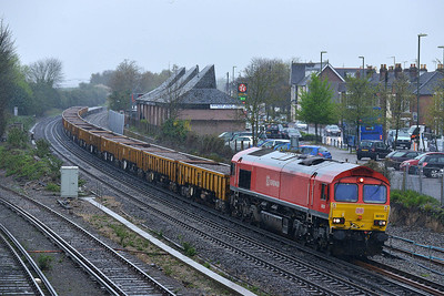 Class 66 No 66101 at Eastleigh on 7 April 2014 with the 6O41 10:14 Westbury Down T.C. - Eastleigh East Yard