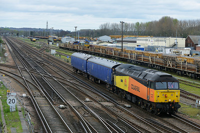 Class 47 No 47727 at Eastleigh on 4 April 2014 with the 5Z95 09:35 Ashford Down Sidings - Eastleigh TMD