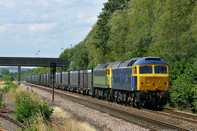 Class 47 No 47843/47812 at Gascoigne Wood on 5 August 2014 with the 4D19 12:32 Drax Power Station – Doncaster Down Decoy