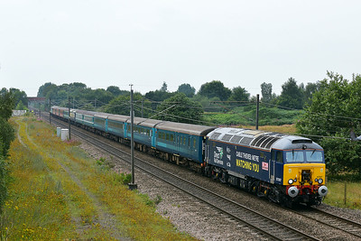 Class 57 No 57307+57311 at Heck on 1 August 2014 with the 1Z88 07:51 London Kings Cross – Prestonpans