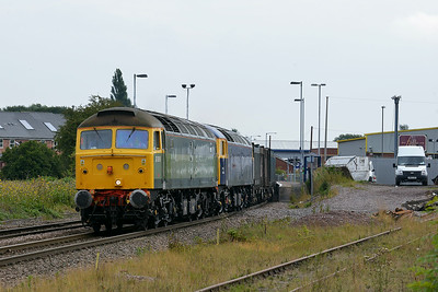 Class 47 No 47812/47843 at Whitley Bridge on 8 August 2014 with the 4D19 12:32 Drax Power Station – Doncaster Down Decoy
