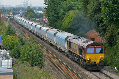 Class 66 No 66008 at Whitley Bridge on 1 August 2014 with the 6E56 08:30 Tunstead Sidings – Drax Power Station