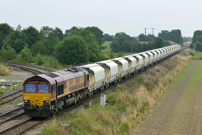 Class 66 No 66006 at Whitley Bridge on 1 August 2014 with the 6D72 11:02 Hull Dairycoates Tilcon – Rylstone Tilcon