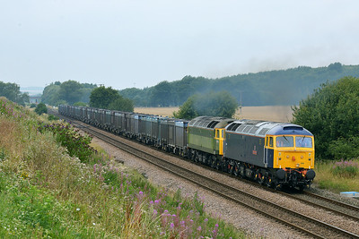 Class 47 No 47815/47812 at Hambleton West Junction on 1 August 2014 with the 4D19 12:28 Drax Power Station – Doncaster Down Decoy