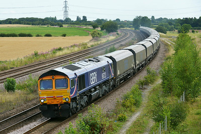 Class 66 No 66723 at Burton Salmon  on 7 August 2014 with the 6H12 06:23 Tyne Coal Terminal – Drax Power Station