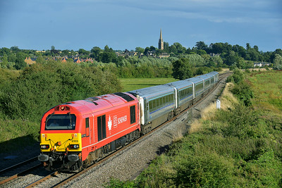 Class 67 No 67018 at Kings Sutton on 13 August 2014 with the 1K57 17:15 London Marylebone - Kidderminster