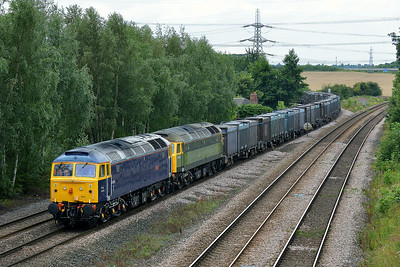 Class 47 No 47843/47812 at Burton Salmon on 7 August 2014 with the 4D19 12:32 Drax Power Station – Doncaster Down Decoy