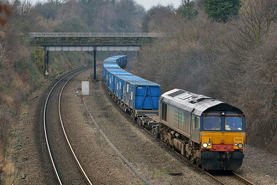 Class 66 No 66419 in Horbury Cutting on 17 February 2014 with the 6E06 09:32 Bredbury R.T.S. – York Yard South
